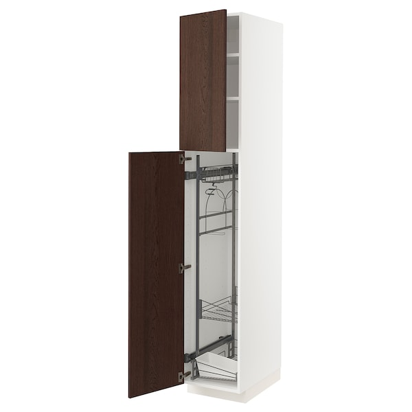 METOD High cabinet with cleaning interior, white/Sinarp brown, 40x60x220 cm