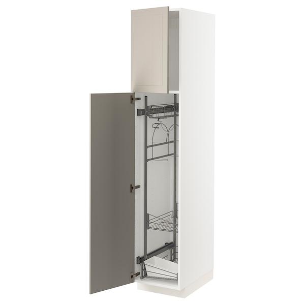 METOD خزانة مرتفعة مع أرفف مواد نظافة, أبيض/Stensund بيج, 40x60x200 سم