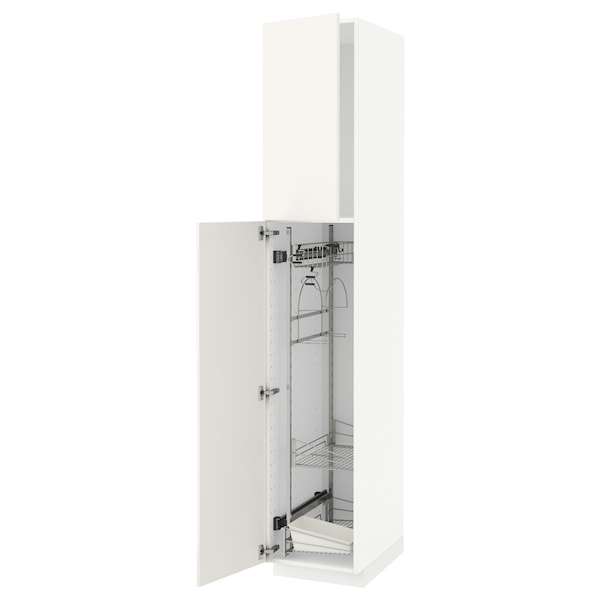 METOD High cabinet with cleaning interior, white/Veddinge white, 40x60x220 cm