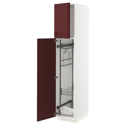 METOD high cabinet with cleaning interior white Kallarp/high-gloss dark red-brown 40.0 cm 61.6 cm 208.0 cm 60.0 cm 200.0 cm