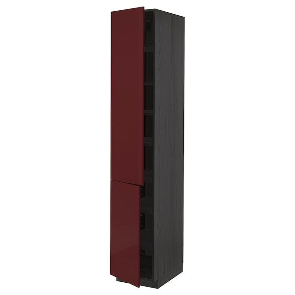 METOD High cabinet with shelves/2 doors, black Kallarp/high-gloss dark red-brown, 40x60x220 cm
