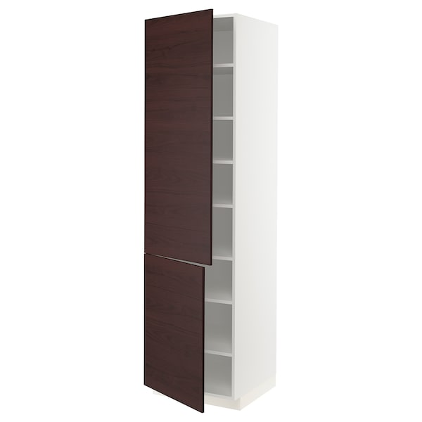 METOD High cabinet with shelves/2 doors, white Askersund/dark brown ash effect, 60x60x220 cm