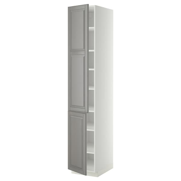 METOD high cabinet with shelves/2 doors white/Bodbyn grey 40.0 cm 61.9 cm 228.0 cm 60.0 cm 220.0 cm