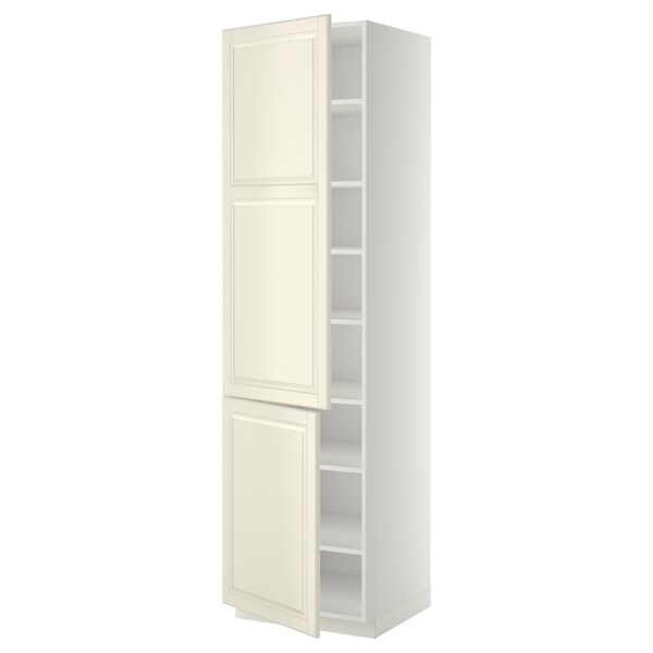 METOD High cabinet with shelves/2 doors, white/Bodbyn off-white, 60x60x220 cm