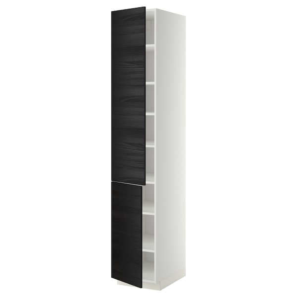 METOD high cabinet with shelves/2 doors white/Tingsryd black 40.0 cm 61.6 cm 228.0 cm 60.0 cm 220.0 cm