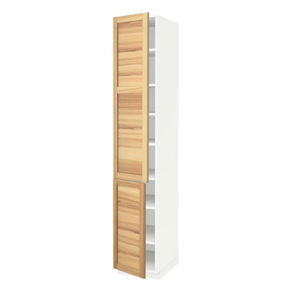 METOD high cabinet with shelves/2 doors white/Torhamn ash 40.0 cm 62.0 cm 228.0 cm 60.0 cm 220.0 cm