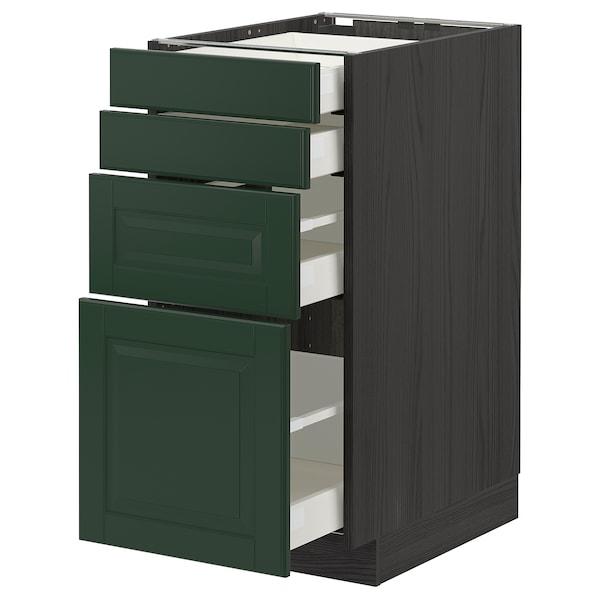 METOD / MAXIMERA Base cab 4 frnts/4 drawers, black/Bodbyn dark green, 40x60 cm