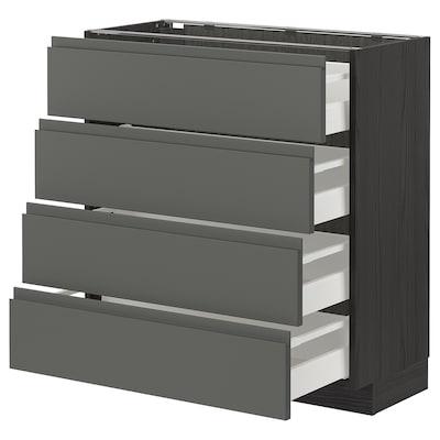 METOD / MAXIMERA Base cab 4 frnts/4 drawers, black/Voxtorp dark grey, 80x37 cm
