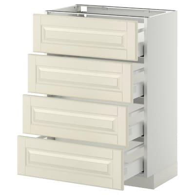 METOD / MAXIMERA خ. قاعدة 4 واجهات/4 أدراج, أبيض/Bodbyn أبيض-عاجي, 60x37 سم