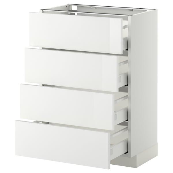 METOD / MAXIMERA خ. قاعدة 4 واجهات/4 أدراج, أبيض/Ringhult أبيض, 60x37 سم
