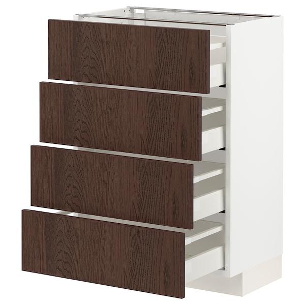 METOD / MAXIMERA خزانة قاعدة 4 واجهات/4 أدراج, أبيض/Sinarp بني, 60x37 سم