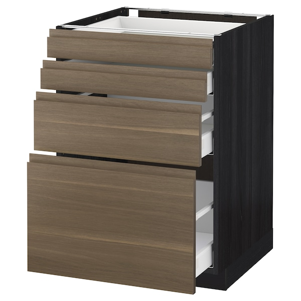 METOD / MAXIMERA base cab 4 frnts/4 drawers black/Voxtorp walnut 60.0 cm 62.1 cm 88.0 cm 60.0 cm 80.0 cm