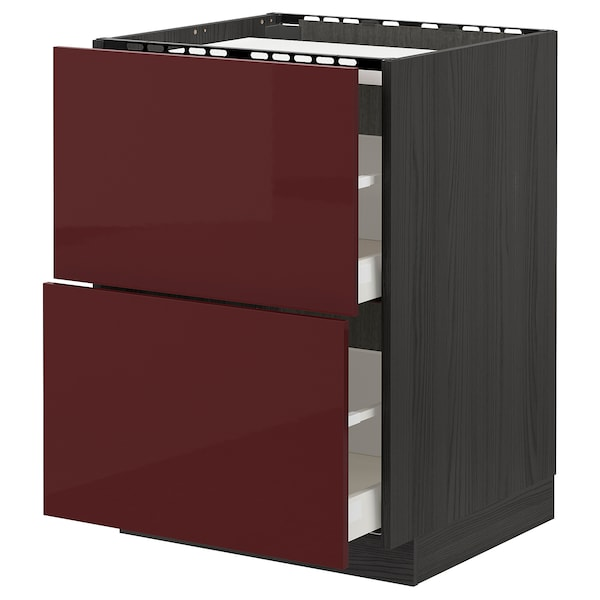 METOD / MAXIMERA Base cab f hob/2 fronts/2 drawers, black Kallarp/high-gloss dark red-brown, 60x60 cm