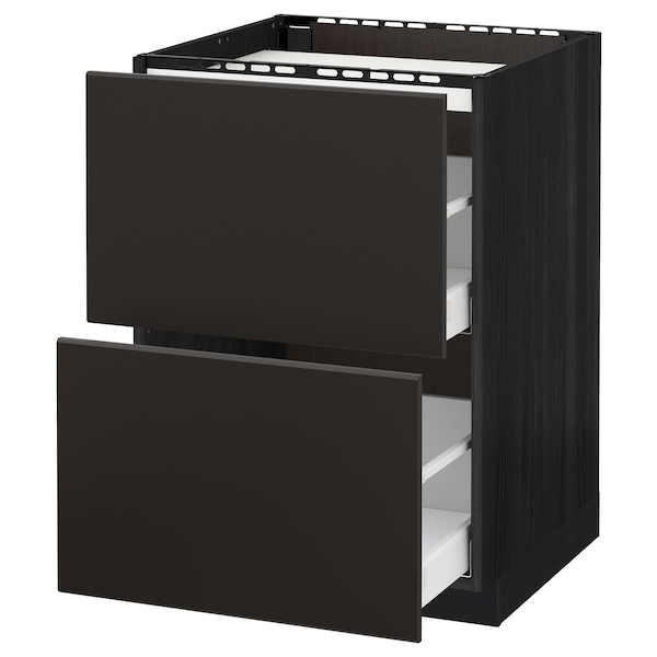 METOD / MAXIMERA Base cab f hob/2 fronts/2 drawers, black/Kungsbacka anthracite, 60x60 cm