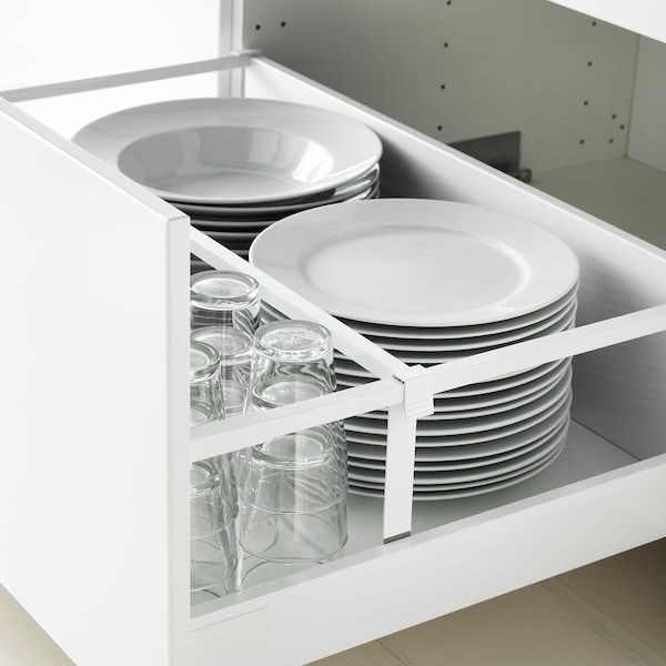 METOD / MAXIMERA Base cab f hob/2 fronts/2 drawers, white/Bodbyn off-white, 80x60 cm