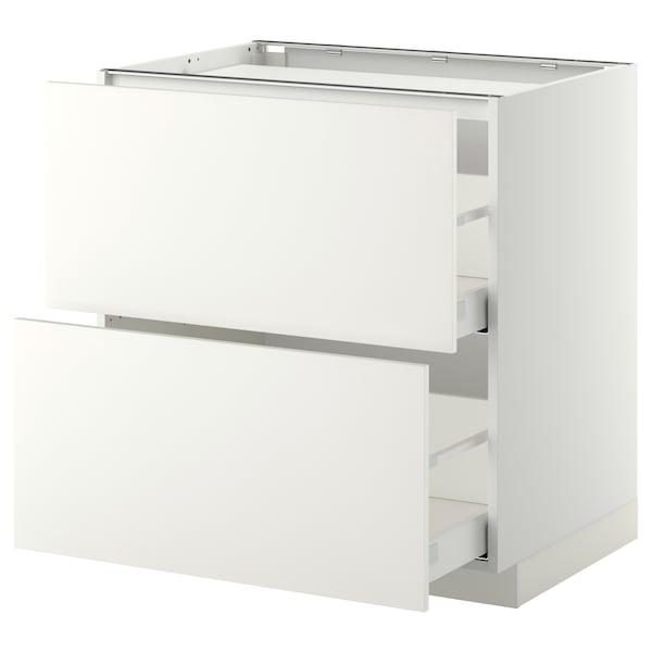 METOD / MAXIMERA Base cab f hob/2 fronts/2 drawers, white/Häggeby white, 80x60 cm