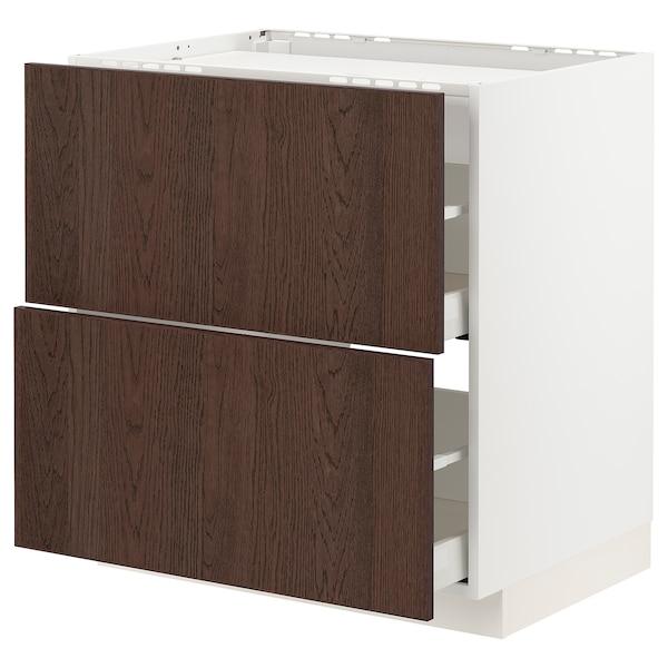 METOD / MAXIMERA Base cab f hob/2 fronts/2 drawers, white/Sinarp brown, 80x60 cm