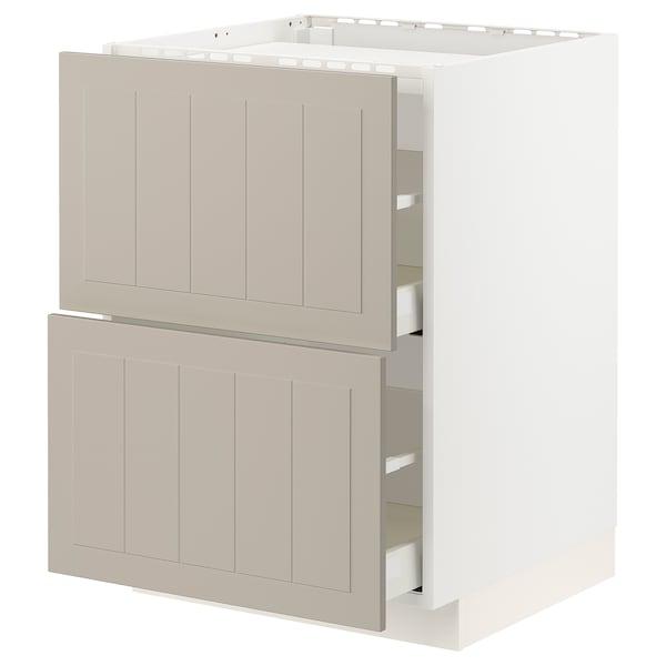 METOD / MAXIMERA Base cab f hob/2 fronts/2 drawers, white/Stensund beige, 60x60 cm