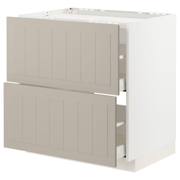 METOD / MAXIMERA Base cab f hob/2 fronts/2 drawers, white/Stensund beige, 80x60 cm