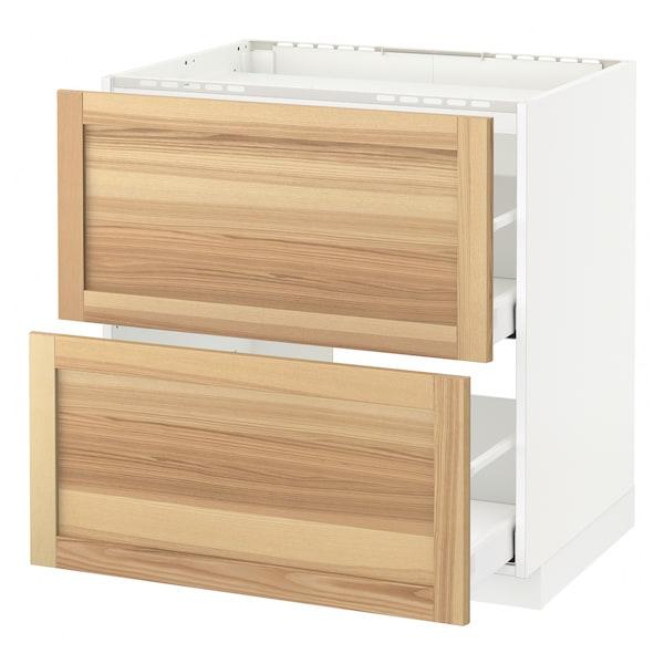 METOD / MAXIMERA Base cab f hob/2 fronts/2 drawers, white/Torhamn ash, 80x60 cm