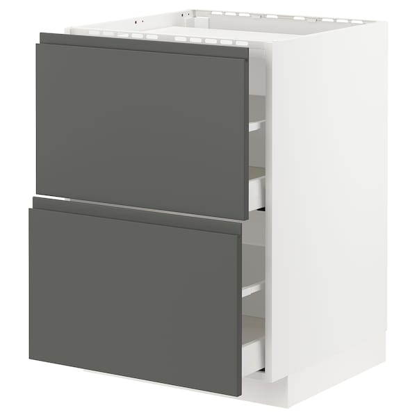 METOD / MAXIMERA Base cab f hob/2 fronts/2 drawers, white/Voxtorp dark grey, 60x60 cm