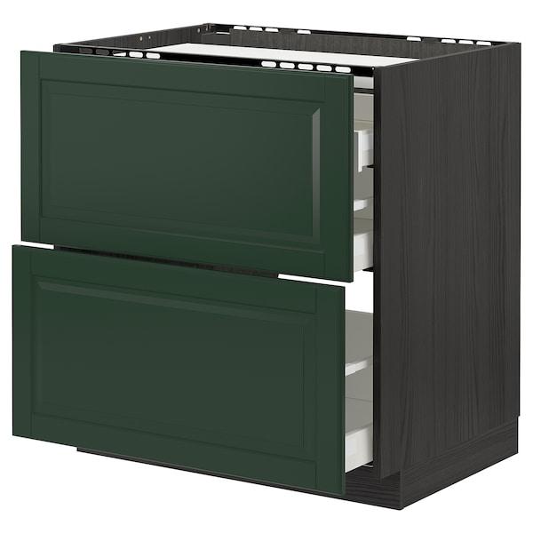 METOD / MAXIMERA Base cab f hob/2 fronts/3 drawers, black/Bodbyn dark green, 80x60 cm