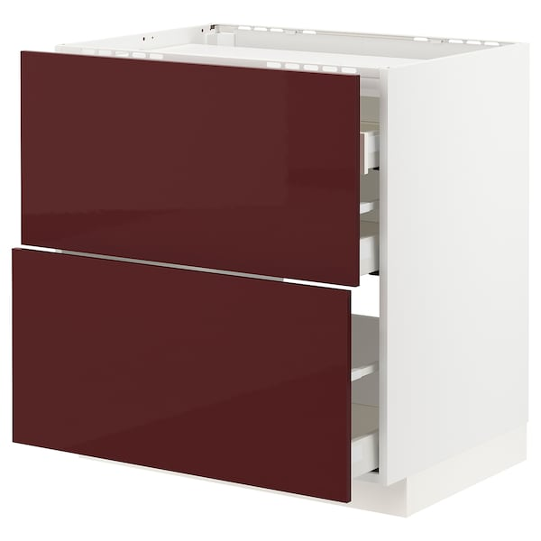 METOD / MAXIMERA Base cab f hob/2 fronts/3 drawers, white Kallarp/high-gloss dark red-brown, 80x60 cm