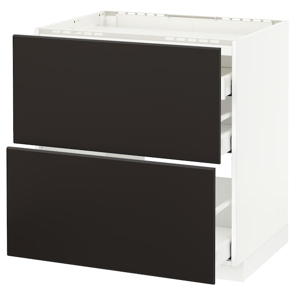 METOD / MAXIMERA Base cab f hob/2 fronts/3 drawers, white/Kungsbacka anthracite, 80x60 cm