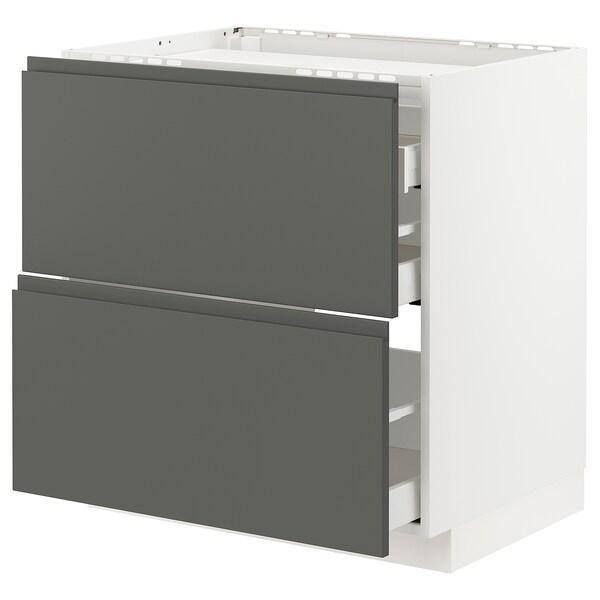 METOD / MAXIMERA Base cab f hob/2 fronts/3 drawers, white/Voxtorp dark grey, 80x60 cm