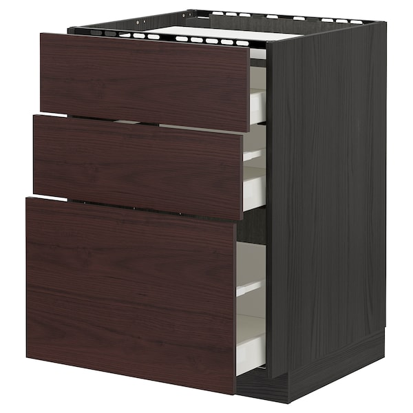 METOD / MAXIMERA Base cab f hob/3 fronts/3 drawers, black Askersund/dark brown ash effect, 60x60 cm