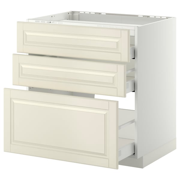 METOD / MAXIMERA Base cab f hob/3 fronts/3 drawers, white/Bodbyn off-white, 80x60 cm