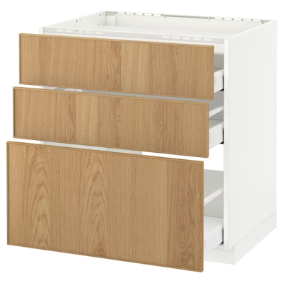 METOD / MAXIMERA Base cab f hob/3 fronts/3 drawers, white/Ekestad oak, 80x60 cm