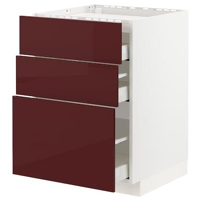 METOD / MAXIMERA خ. قاعدة لموقد/3 واجهات/3 أدراج, أبيض Kallarp/لامع أحمر-بني غامق, 60x60 سم
