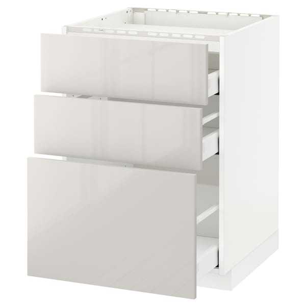 METOD / MAXIMERA Base cab f hob/3 fronts/3 drawers, white/Ringhult light grey, 60x60 cm