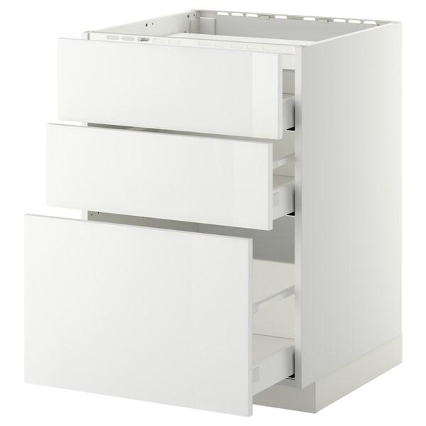 METOD / MAXIMERA خ. قاعدة لموقد/3 واجهات/3 أدراج, أبيض/Ringhult أبيض, 60x60 سم