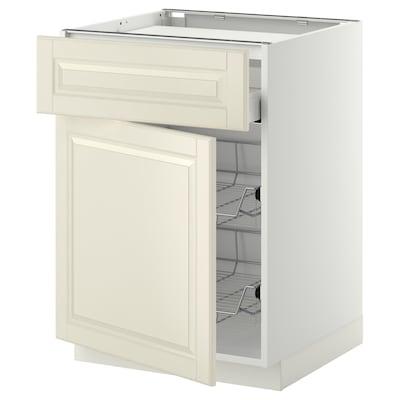 METOD / MAXIMERA خزانة قاعدة لموقد/درج/ 2 سلال سلكية, أبيض/Bodbyn أبيض-عاجي, 60x60 سم