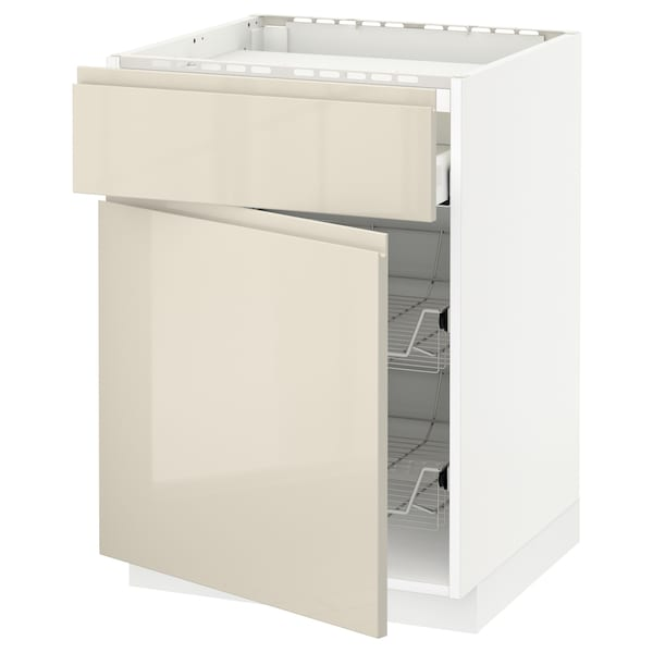 METOD / MAXIMERA Base cab f hob/drawer/2 wire bskts, white/Voxtorp high-gloss light beige, 60x60 cm