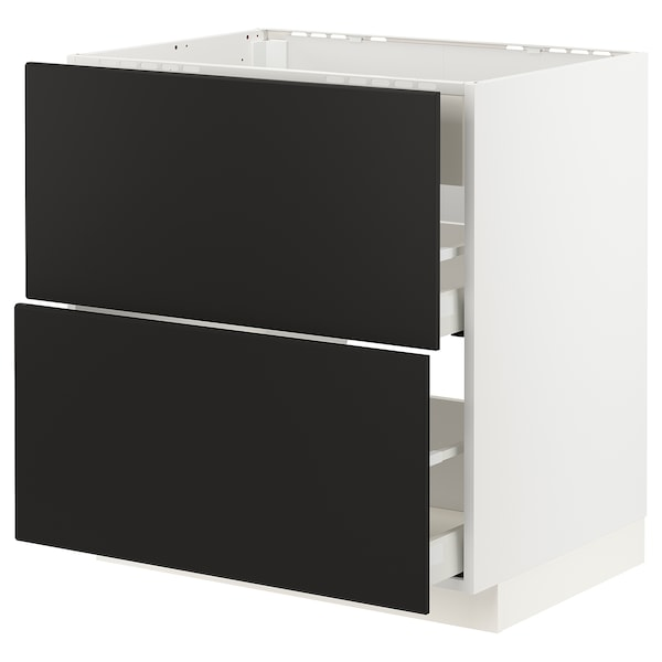 METOD / MAXIMERA Base cab f hob/int extractor w drw, white/Kungsbacka anthracite, 80x60 cm
