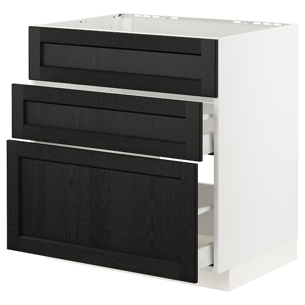 METOD / MAXIMERA Base cab f hob/int extractor w drw, white/Lerhyttan black stained, 80x60 cm