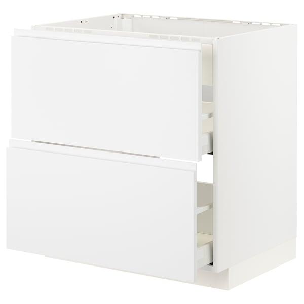 METOD / MAXIMERA Base cab f hob/int extractor w drw, white/Voxtorp matt white, 80x60 cm