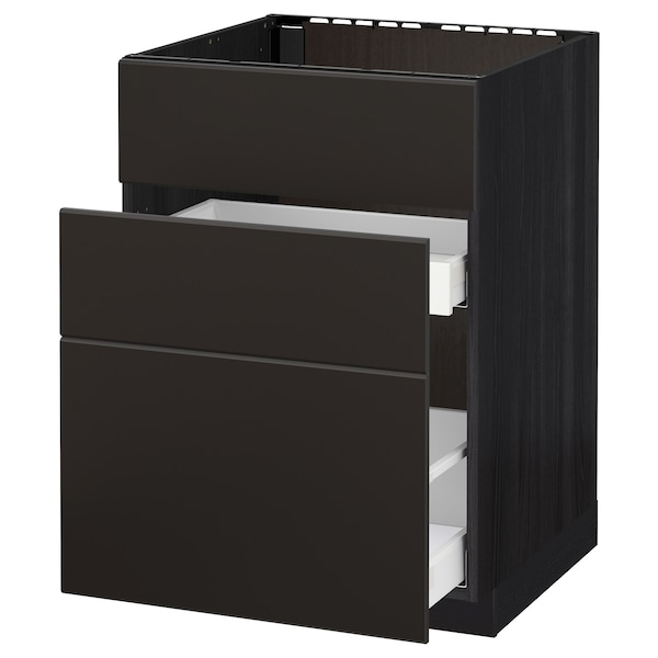 METOD / MAXIMERA Base cab f sink+3 fronts/2 drawers, black/Kungsbacka anthracite, 60x60 cm
