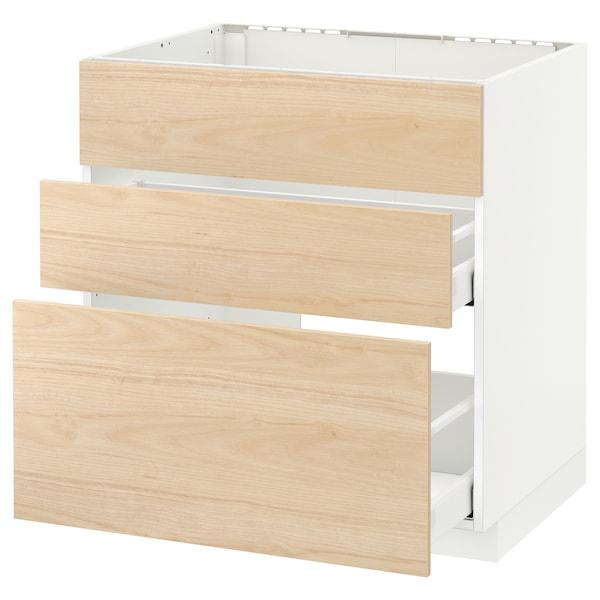 METOD / MAXIMERA Base cab f sink+3 fronts/2 drawers, white/Askersund light ash effect, 80x60 cm