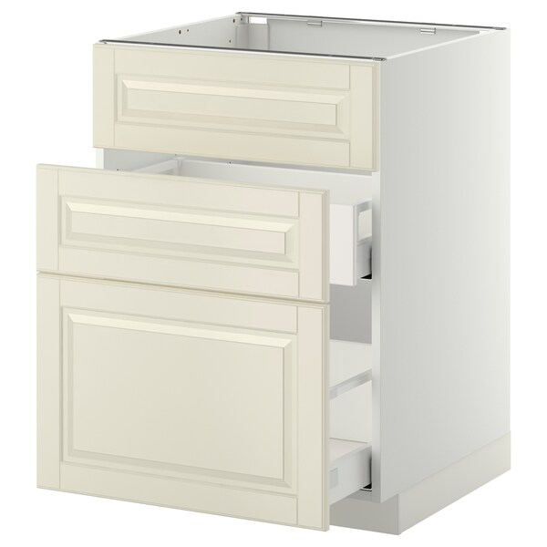 METOD / MAXIMERA Base cab f sink+3 fronts/2 drawers, white/Bodbyn off-white, 60x60 cm