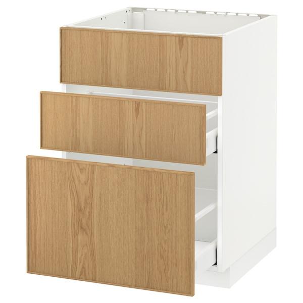 METOD / MAXIMERA Base cab f sink+3 fronts/2 drawers, white/Ekestad oak, 60x60 cm