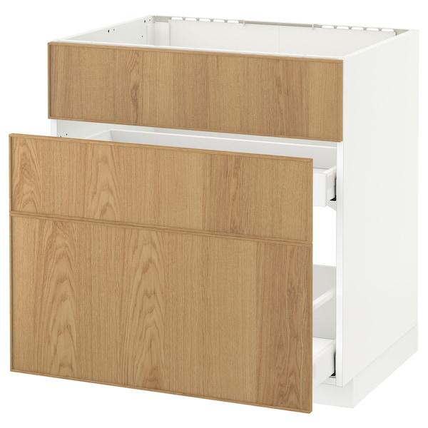 METOD / MAXIMERA Base cab f sink+3 fronts/2 drawers, white/Ekestad oak, 80x60 cm