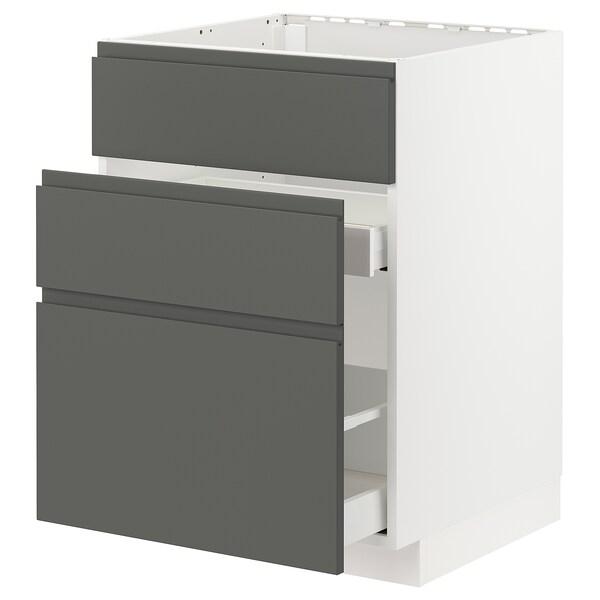 METOD / MAXIMERA Base cab f sink+3 fronts/2 drawers, white/Voxtorp dark grey, 60x60 cm