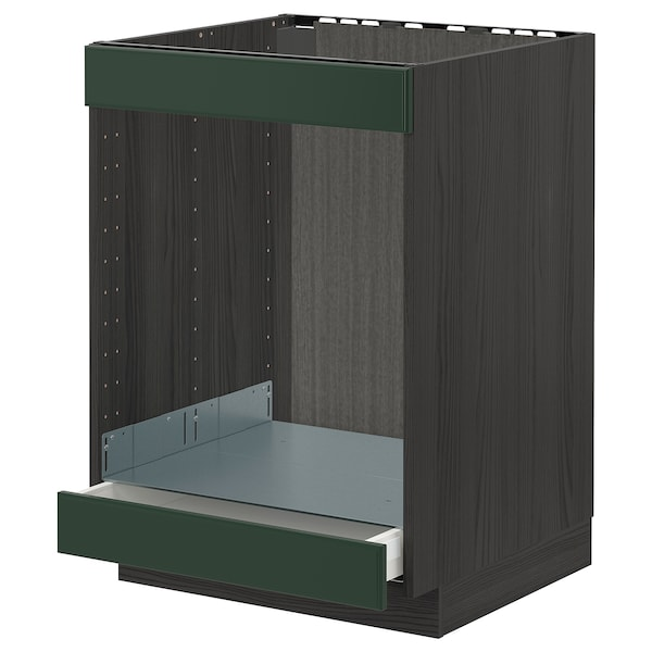 METOD / MAXIMERA خزانة قاعدة لموقد+فرن مع درج, أسود/Bodbyn أخضر غامق, 60x60 سم