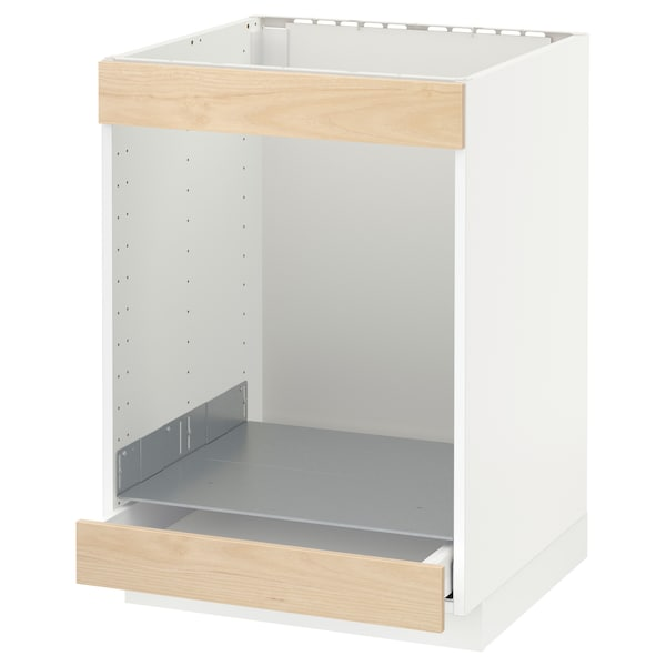 METOD / MAXIMERA Base cab for hob+oven w drawer, white/Askersund light ash effect, 60x60 cm