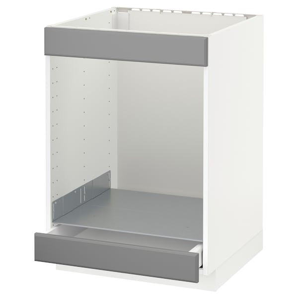METOD / MAXIMERA Base cab for hob+oven w drawer, white/Bodbyn grey, 60x60 cm