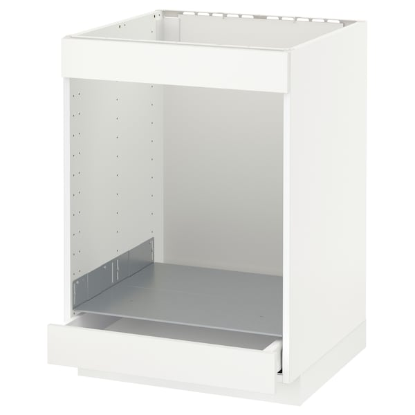 METOD / MAXIMERA Base cab for hob+oven w drawer, white/Häggeby white, 60x60 cm